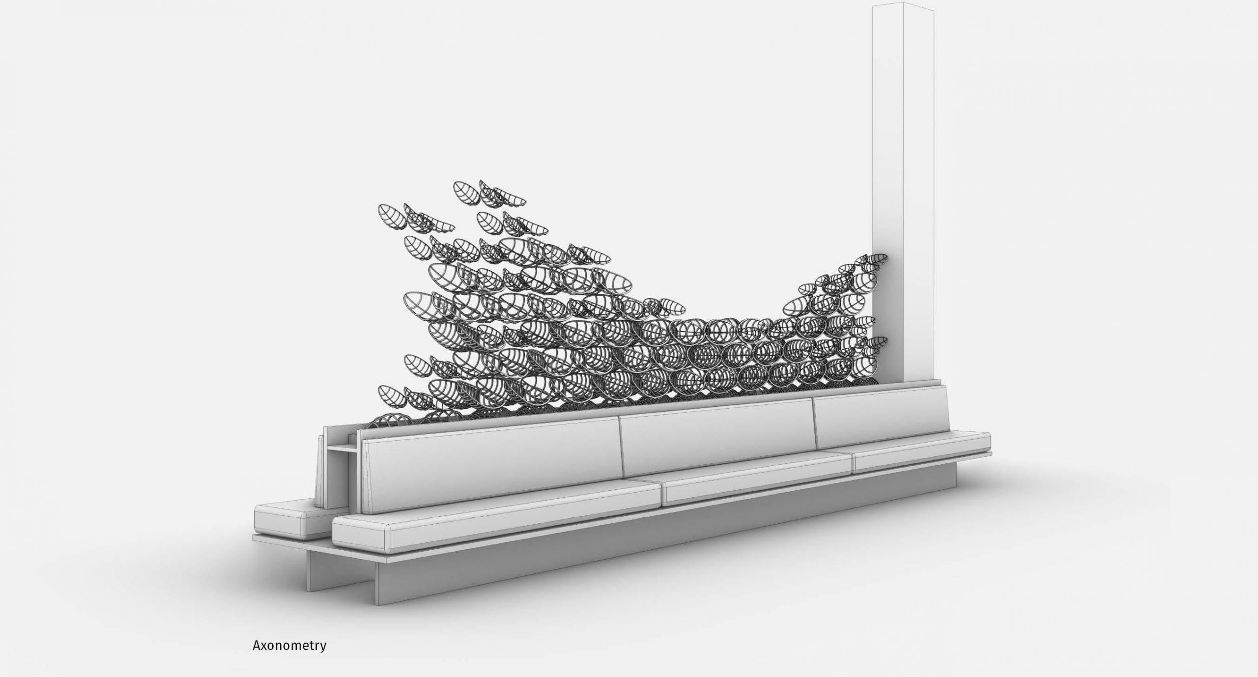 Spacegram_Flux_Instalation_Gold_Aluminium_Flock_Generative_DesignAxonometry_03
