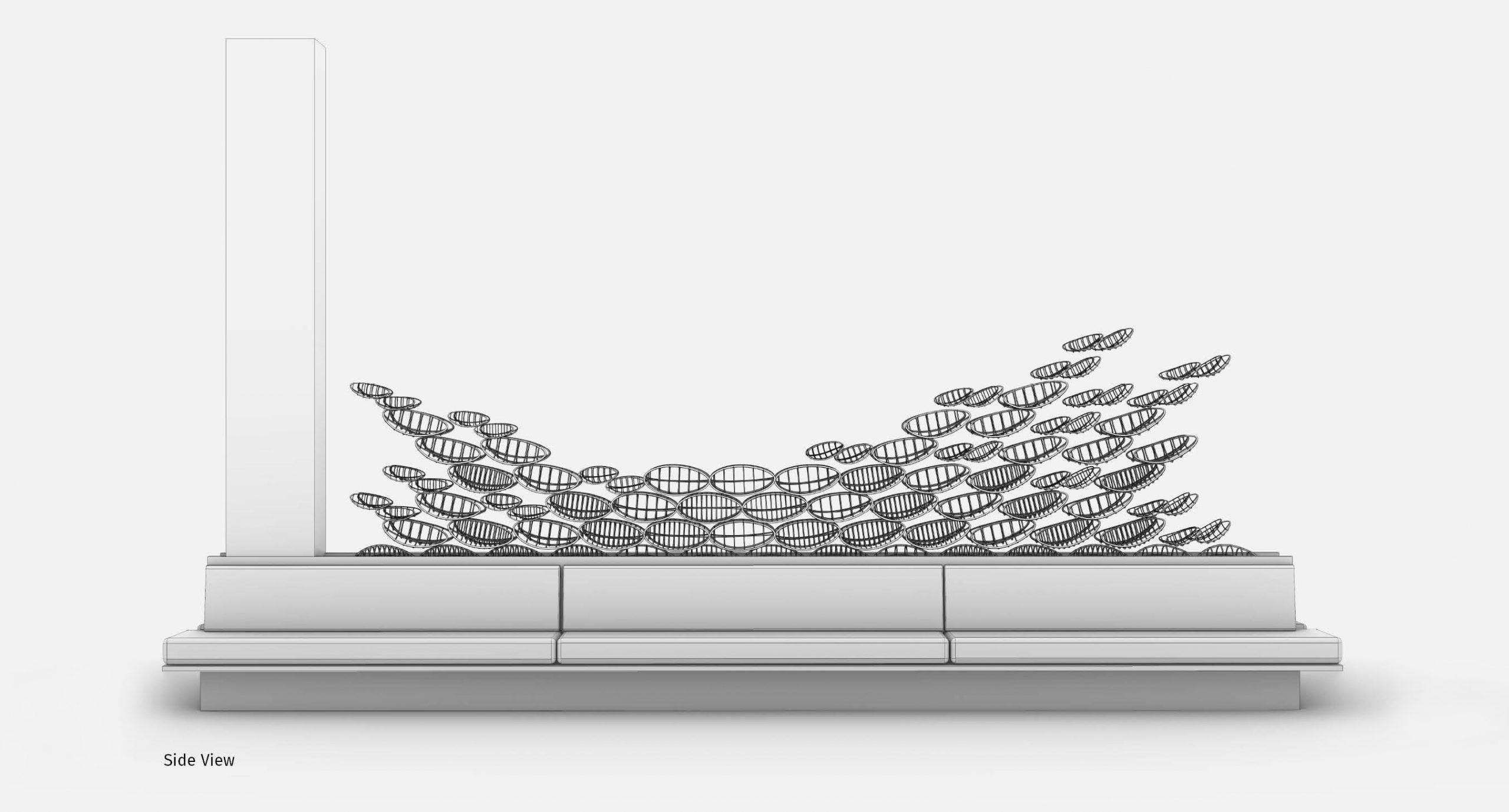 Spacegram_Flux_Instalation_Gold_Aluminium_Flock_Generative_DesignAxonometry_04