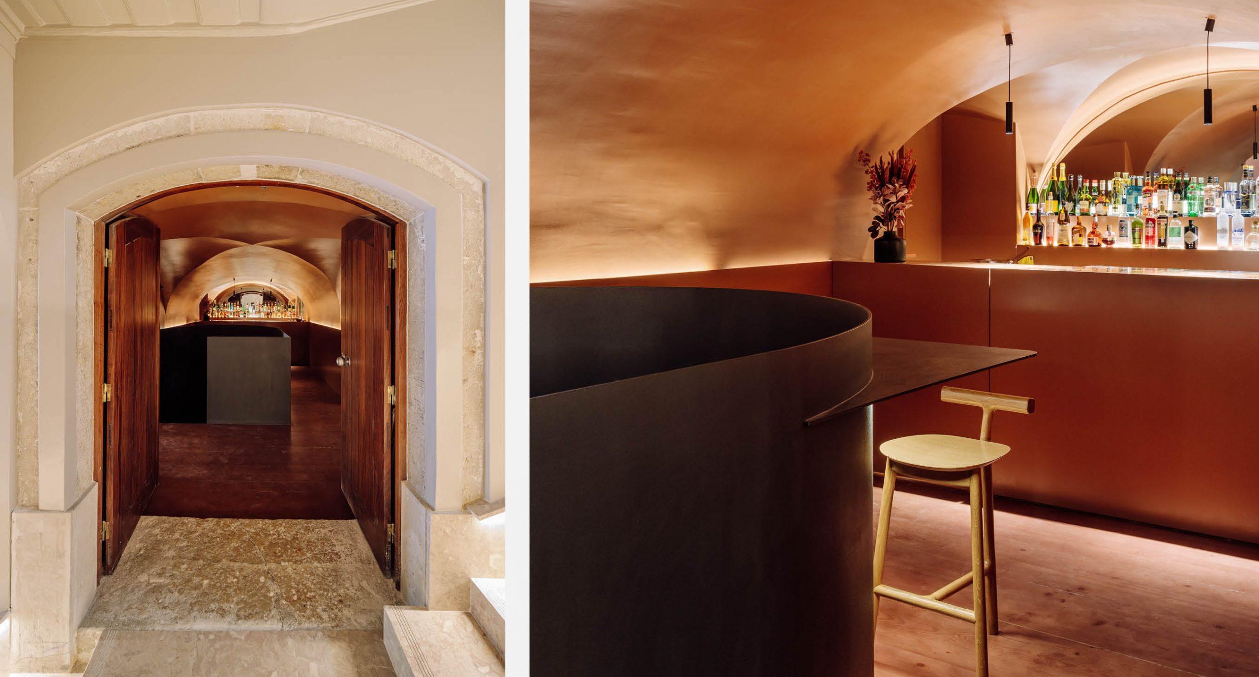 Spacegram_Nomada_Restaurant_Red_WoodPanels_CNC_Instalation_Gold_Neon_Bar_29