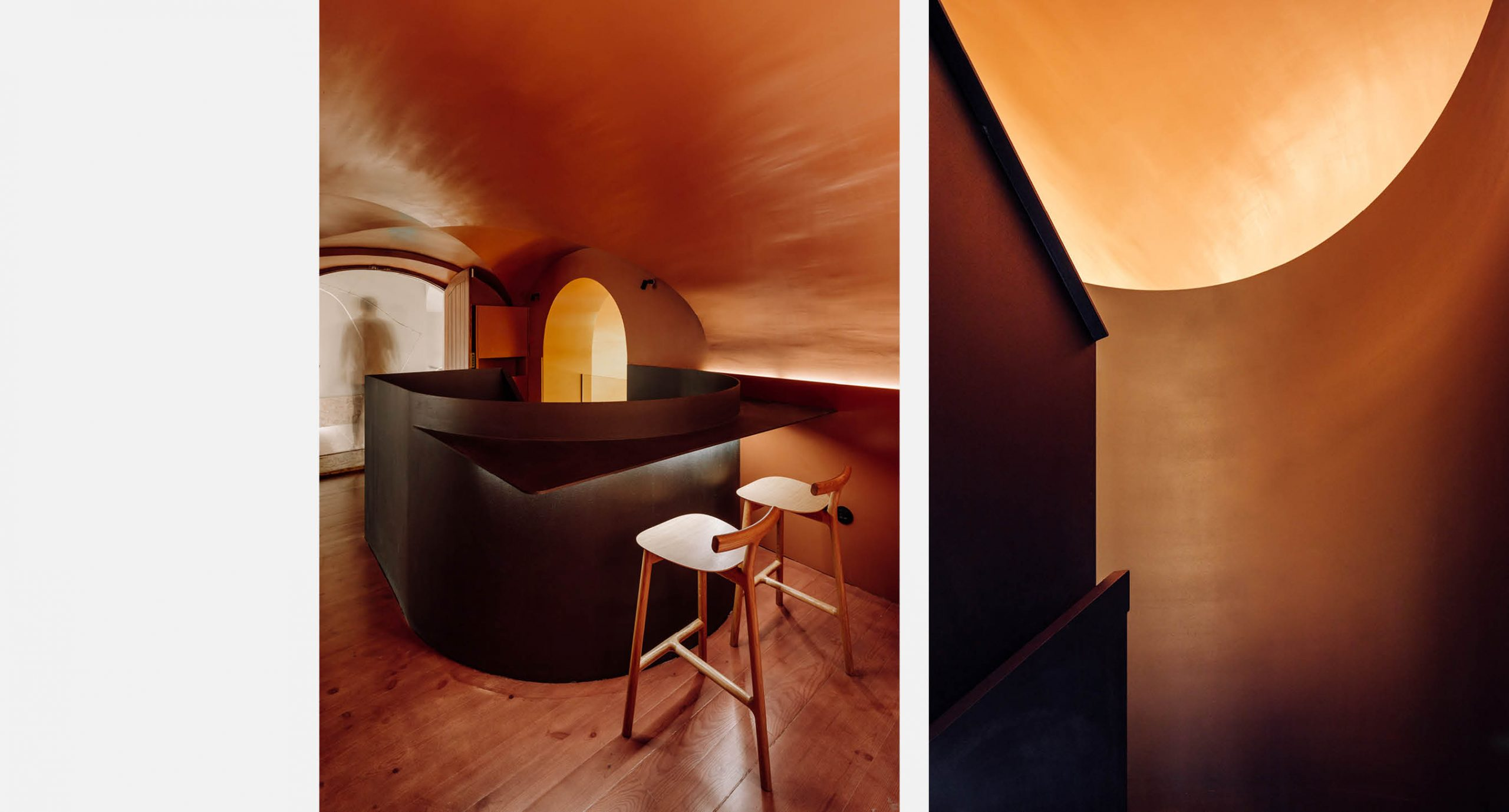 Spacegram_Nomada_Restaurant_Red_WoodPanels_CNC_Instalation_Gold_Stair_25